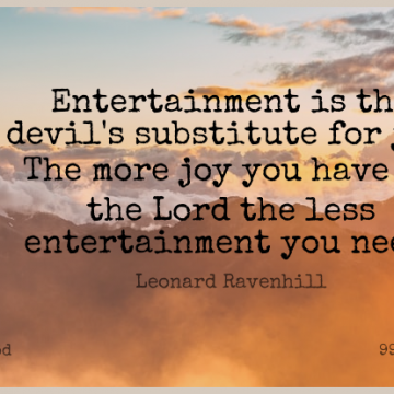 Short God Quote by Leonard Ravenhill about Religious,Joy,Devil for WhatsApp DP / Status, Instagram Story, Facebook Post.