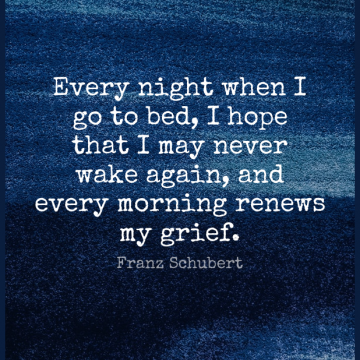 Short Good Morning Quote by Franz Schubert about Grief,Night,Bed for WhatsApp DP / Status, Instagram Story, Facebook Post.