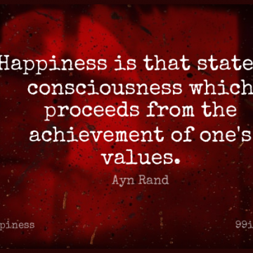 Short Happiness Quote by Ayn Rand about Being Happy,Time,Addiction for WhatsApp DP / Status, Instagram Story, Facebook Post.
