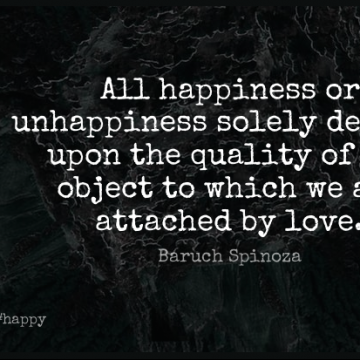 Short Happy Quote by Baruch Spinoza about Happiness,Philosophical,Quality for WhatsApp DP / Status, Instagram Story, Facebook Post.
