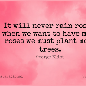 Short Inspirational Quote by George Eliot about Rain,Flower,Grandchildren for WhatsApp DP / Status, Instagram Story, Facebook Post.