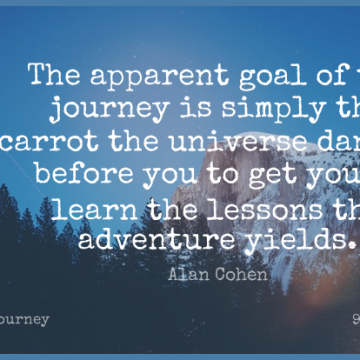 Short Journey Quote by Alan Cohen about Adventure,Yield,Goal for WhatsApp DP / Status, Instagram Story, Facebook Post.