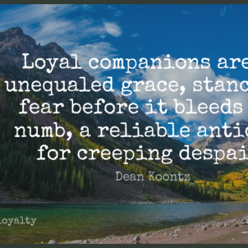 Short Loyalty Quote by Dean Koontz about Grace,Despair,Numb for WhatsApp DP / Status, Instagram Story, Facebook Post.