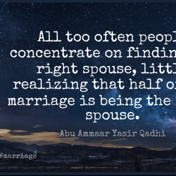 Short Marriage Quote by Abu Ammaar Yasir Qadhi about Family,Couple,Islamic for WhatsApp DP / Status, Instagram Story, Facebook Post.