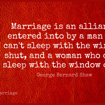 Short Marriage Quote by George Bernard Shaw about Funny,Anniversary,Witty for WhatsApp DP / Status, Instagram Story, Facebook Post.