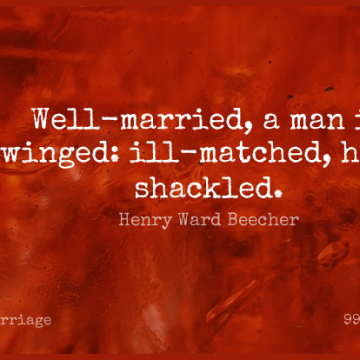 Short Marriage Quote by Henry Ward Beecher about Men,Married,Matrimony for WhatsApp DP / Status, Instagram Story, Facebook Post.