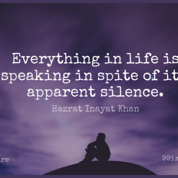 Short Nature Quote by Hazrat Inayat Khan about Inspirational,Animal,Silence for WhatsApp DP / Status, Instagram Story, Facebook Post.