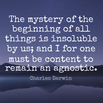 Short Religion Quote by Charles Darwin about Inspirational,Atheist,Insightful for WhatsApp DP / Status, Instagram Story, Facebook Post.