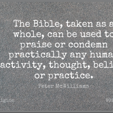 Short Religion Quote by Peter McWilliams about Taken,Practice,Belief for WhatsApp DP / Status, Instagram Story, Facebook Post.