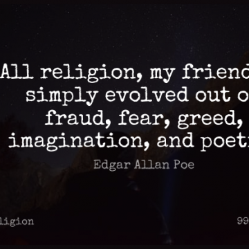 Short Religion Quote by Edgar Allan Poe about Inspirational,Life,Religious for WhatsApp DP / Status, Instagram Story, Facebook Post.