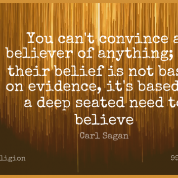 Short Religion Quote by Carl Sagan about Death,Faith,Atheist for WhatsApp DP / Status, Instagram Story, Facebook Post.