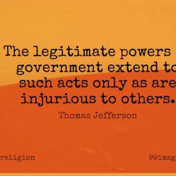 Short Religion Quote by Thomas Jefferson about Religious,Government,Political for WhatsApp DP / Status, Instagram Story, Facebook Post.