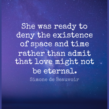 Short Romantic Quote by Simone de Beauvoir about Love,Space,Might for WhatsApp DP / Status, Instagram Story, Facebook Post.