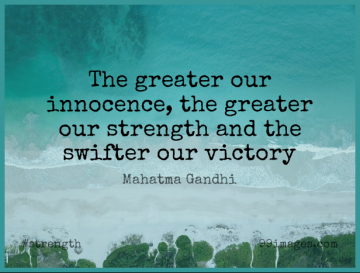Short Strength Quote by Mahatma Gandhi about Strong,Victory,Innocence for WhatsApp DP / Status, Instagram Story, Facebook Post.
