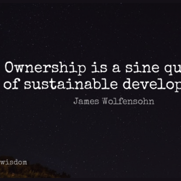 Short Wisdom Quote by James Wolfensohn about Politics,Development,Ownership for WhatsApp DP / Status, Instagram Story, Facebook Post.