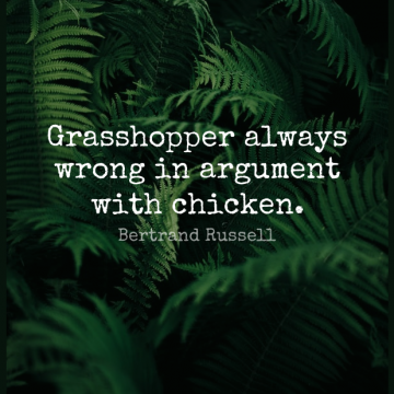 Short Wisdom Quote by Bertrand Russell about Argument,Grasshoppers,Chickens for WhatsApp DP / Status, Instagram Story, Facebook Post.