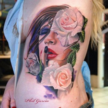 3d Portrait White Tattoo Design For Women (female)
