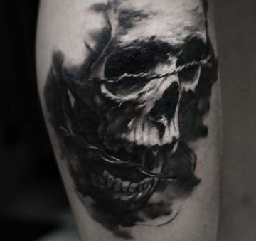3d Skull Arm Tattoo Design