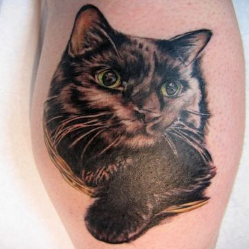 3d Cat Tattoo Design
