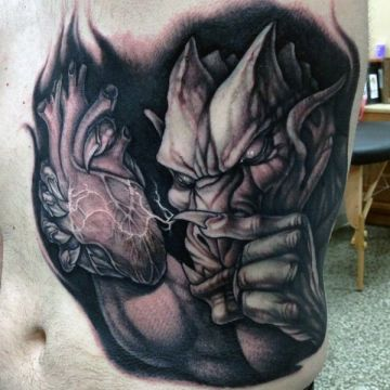 3d Gargoyle Heart Tattoo Design