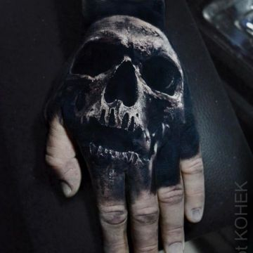 3d Skull Hand Tattoo Design