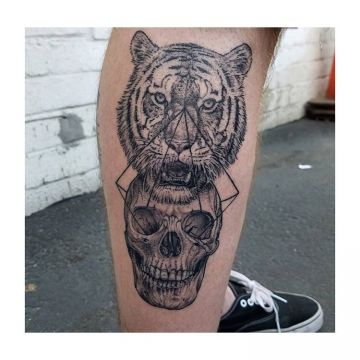 3d Tiger Skull Leg, Head Tattoo Design