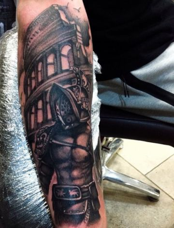 Black & White Gladiator Warrior Forearm Tattoo Design