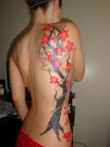 Blossom Tree Ribs Tattoo Design