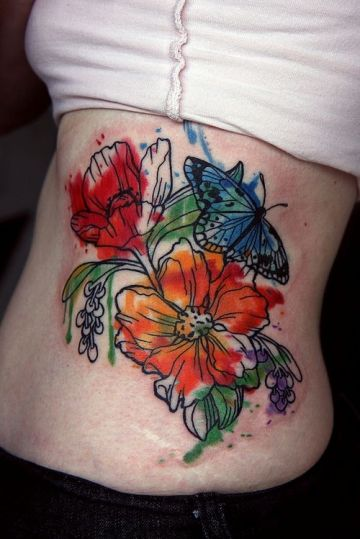 Butterfly Ribs Tattoo Design