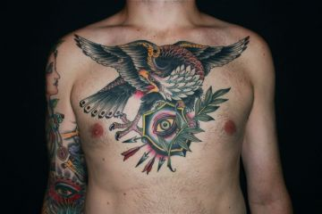 Eagle Eye Chest Tattoo Design