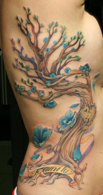 Family Tree Ribs Tattoo Design