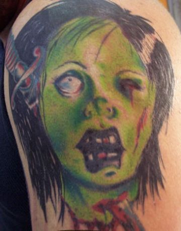 Green Zombie Face Tattoo Design