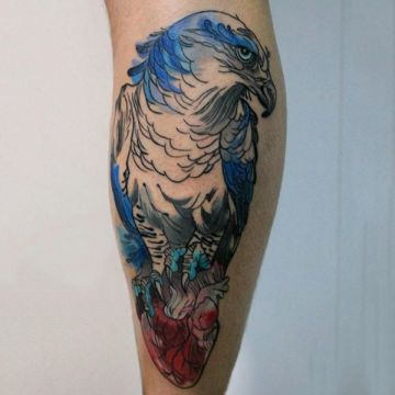 Heart Eagle Leg Tattoo Design