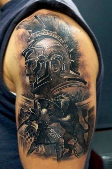 Lion Gladiator Shoulder Tattoo Design