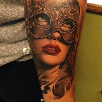 Mask Forearm Tattoo Design For Women (female)