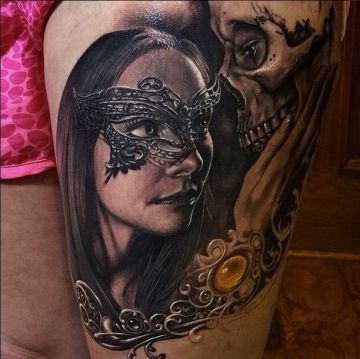 Mask Skull Tattoo Design For Women (female)