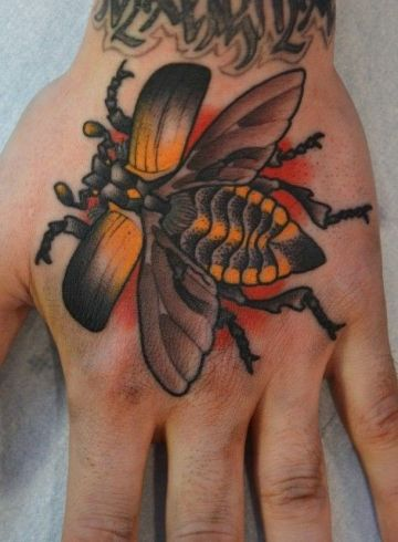 Orange Bug Hand Tattoo Design