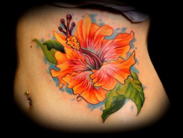 Orange Flower Ribs Tattoo Design