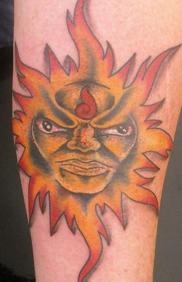 Orange Sun Tattoo Design