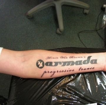 Quote Music Arm Tattoo Design