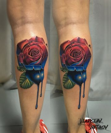 Red & Blue Rose Leg Tattoo Design