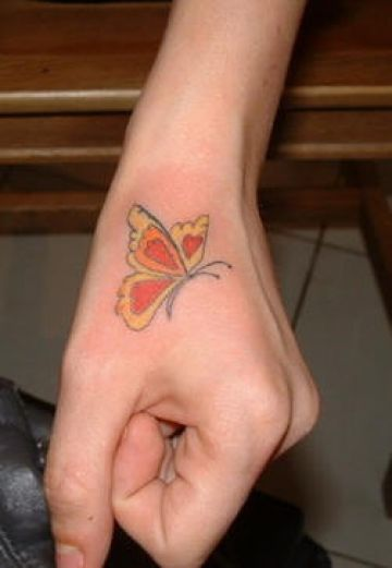 Red Butterfly Hand Tattoo Design