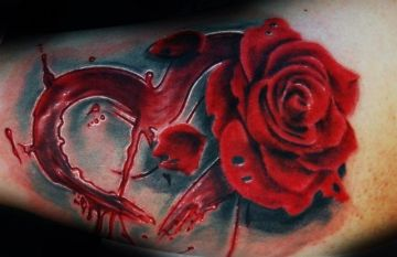 Red Heart Rose Arm Tattoo Design