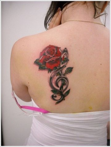 Red Rose Music Shoulder Tattoo Design