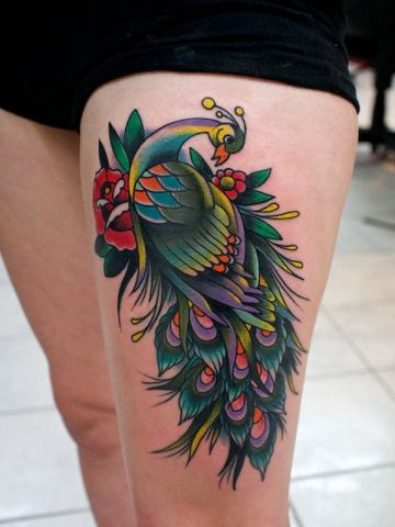 Red Rose Peacock Flower Thigh Tattoo Design