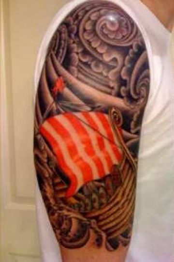 Red Ship Viking Shoulder Tattoo Design