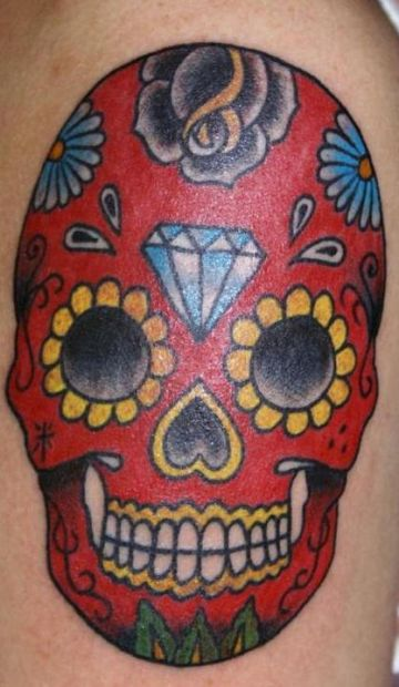 Red Skull Diamond Tattoo Design