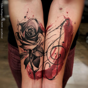 Rose Flower Music Forearm Tattoo Design