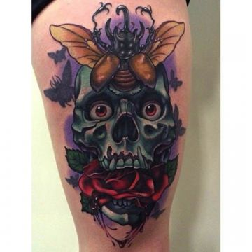 Rose Skull Bug Thigh Tattoo Design
