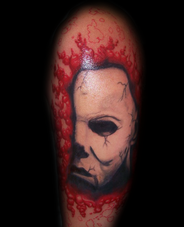 White Mask Shoulder Tattoo Design